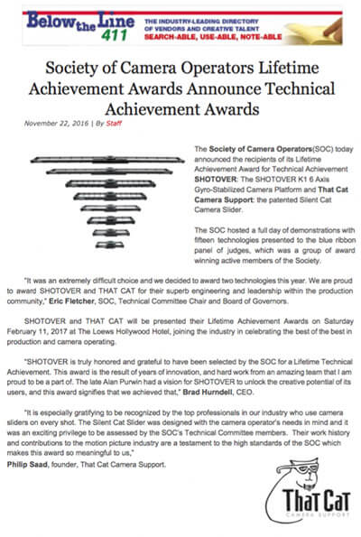 Society of Camera Operators Lifetime Achievement Awards